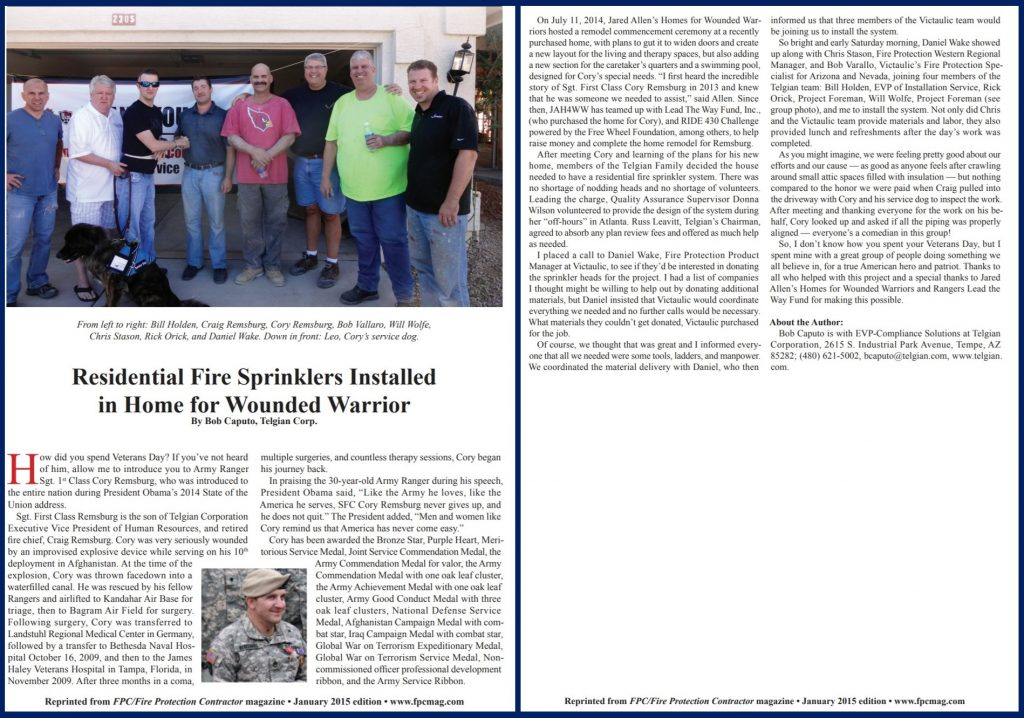 Fire Protection Contractor article features Wounded Warrior Cory Remsburg's home rebuild