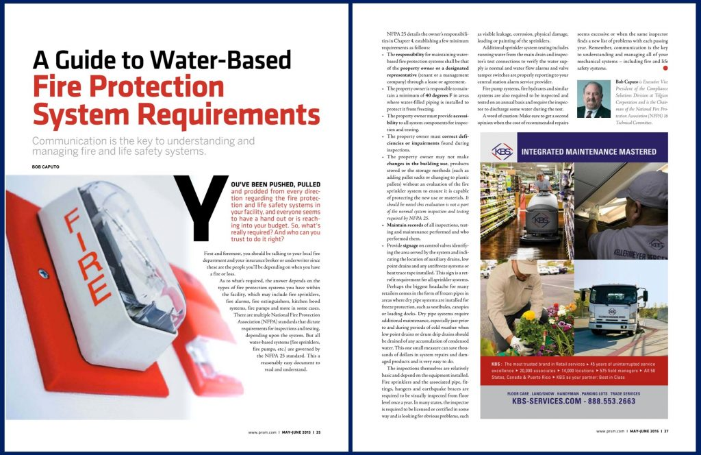 A Guide to Water-Based Fire Protection System Requirements featured in Professional Retail Store Maintenance magazine