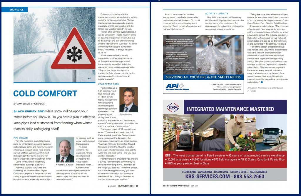 Winterization for Retail Stores in Retail Store Maintenance magazine feature's Telgian's Bob Caputo