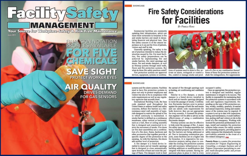 Fire Safety Considerations for Facilities article authored by Telgian's Pamela Reno