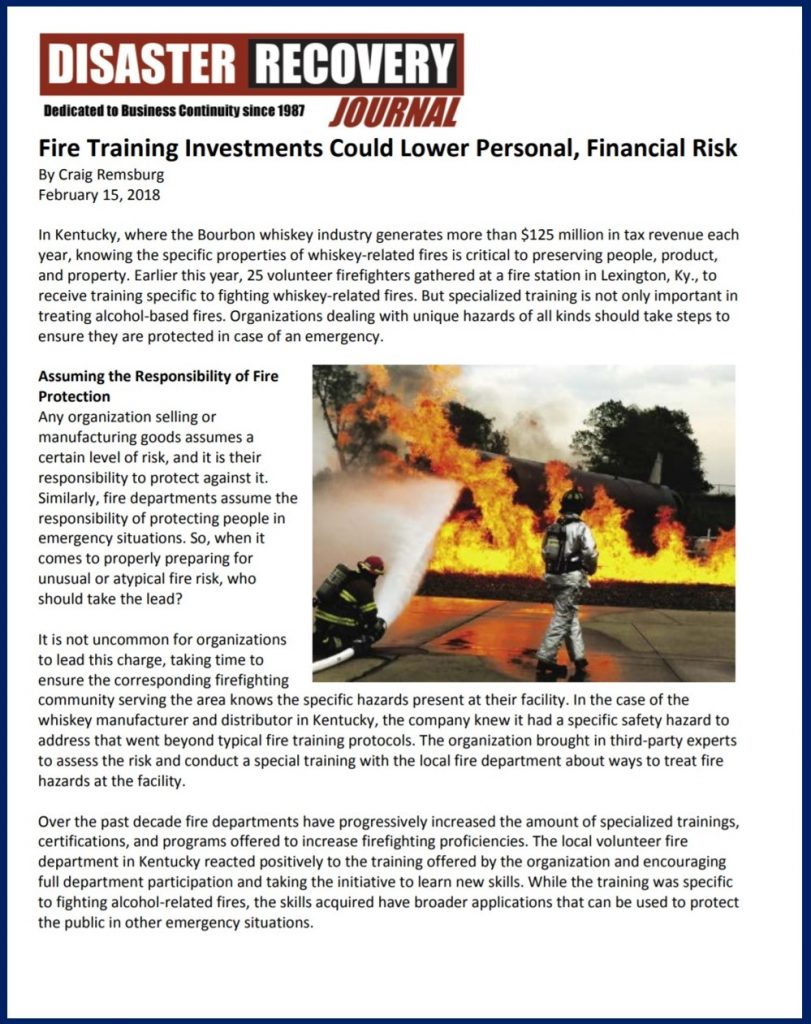 "Craig Remsburg, Director of Special Projects at Telgian, recently shared his expertise in the fire and life safety industry with Disaster Recovery Journal. His article, ""Fire Training Investments Could Lower Personal, Financial Risk"" examines the need for fire training within organizations and on who's shoulders does the responsibility lie."