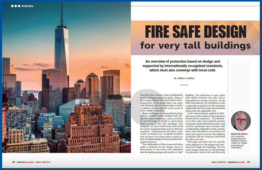 "Jim Antell's article, ""Fire Safe Design for Very Tall Buildings,"" featured in Contraincendio Magazine"