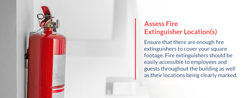 Where should fire extinguishers be located