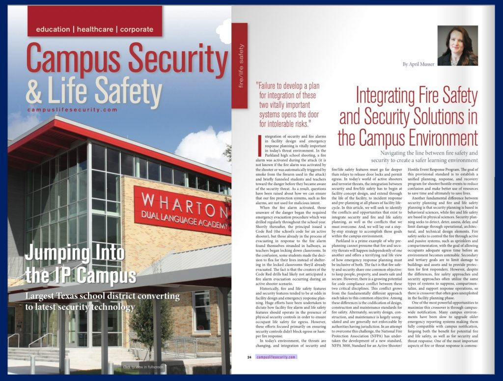 "April Musser's article, ""Integrating Fire Safety and Security Solutions in the Campus Environment"" featured in Campus Security and Safety magazine"
