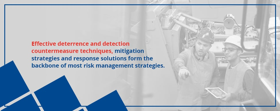Risk management strategies include effective countermeasures, mitigation strategies and response solutions